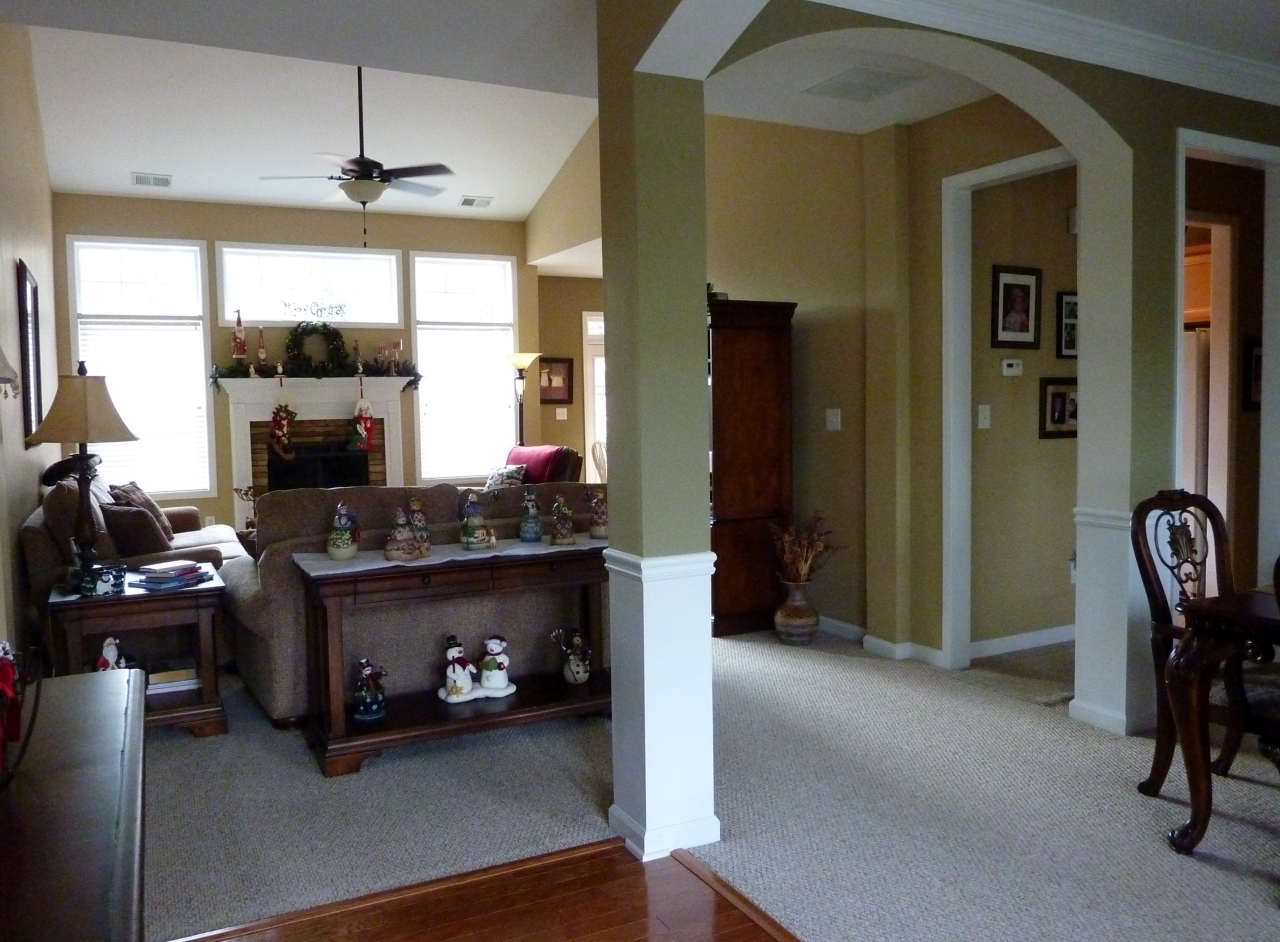 Enter the Bright Open Design into Foyer, Great Room and Dining Room