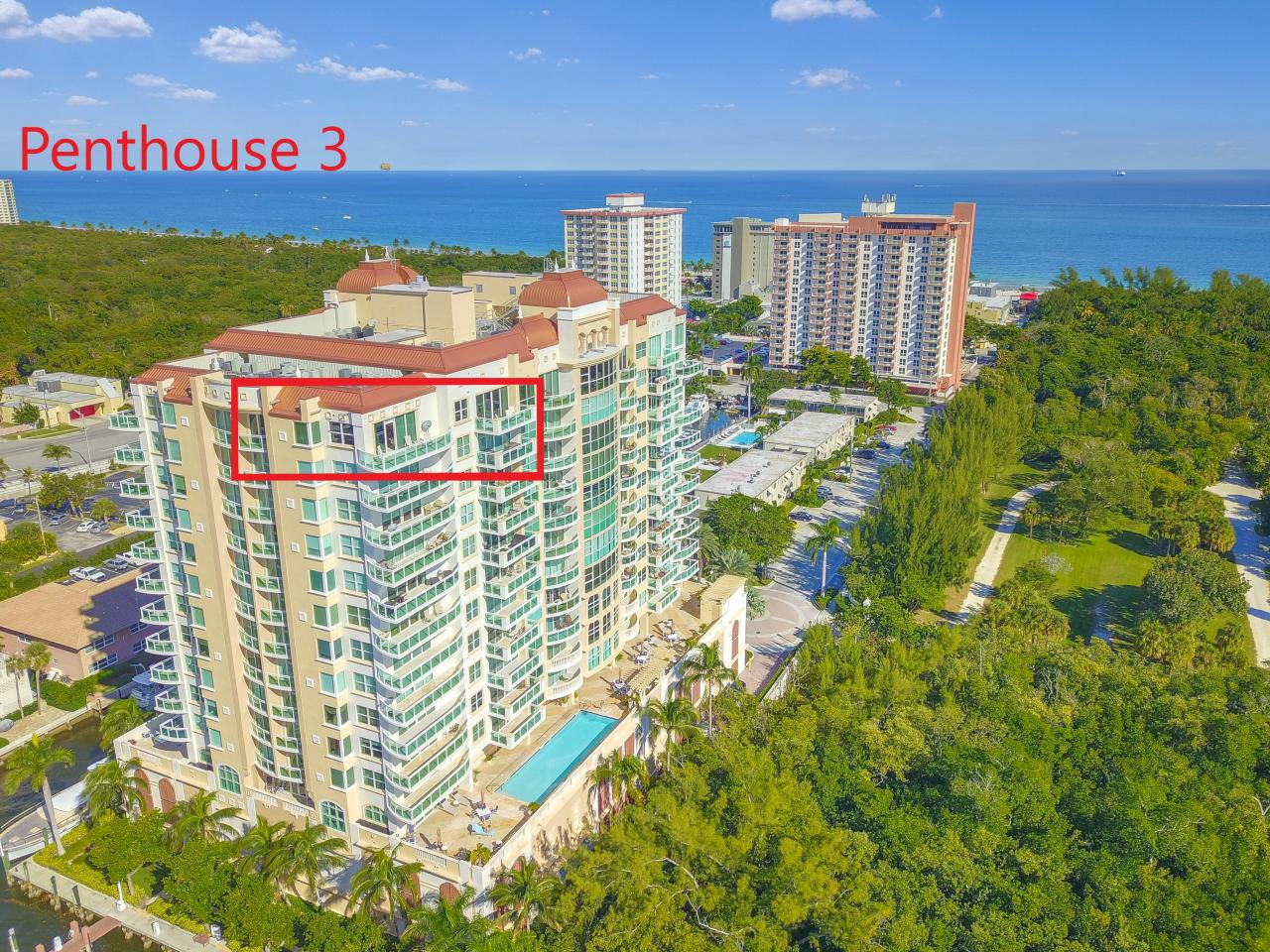Aerial View of Penthouse 3 with Premier Southern Exposure Along the Intracoastal