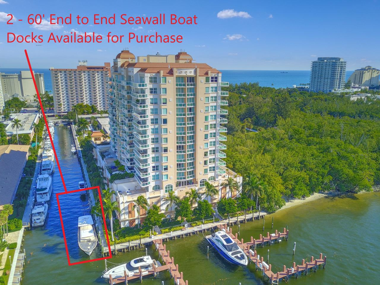 Aerial View with Seawall Boat Docks Available for Purchase