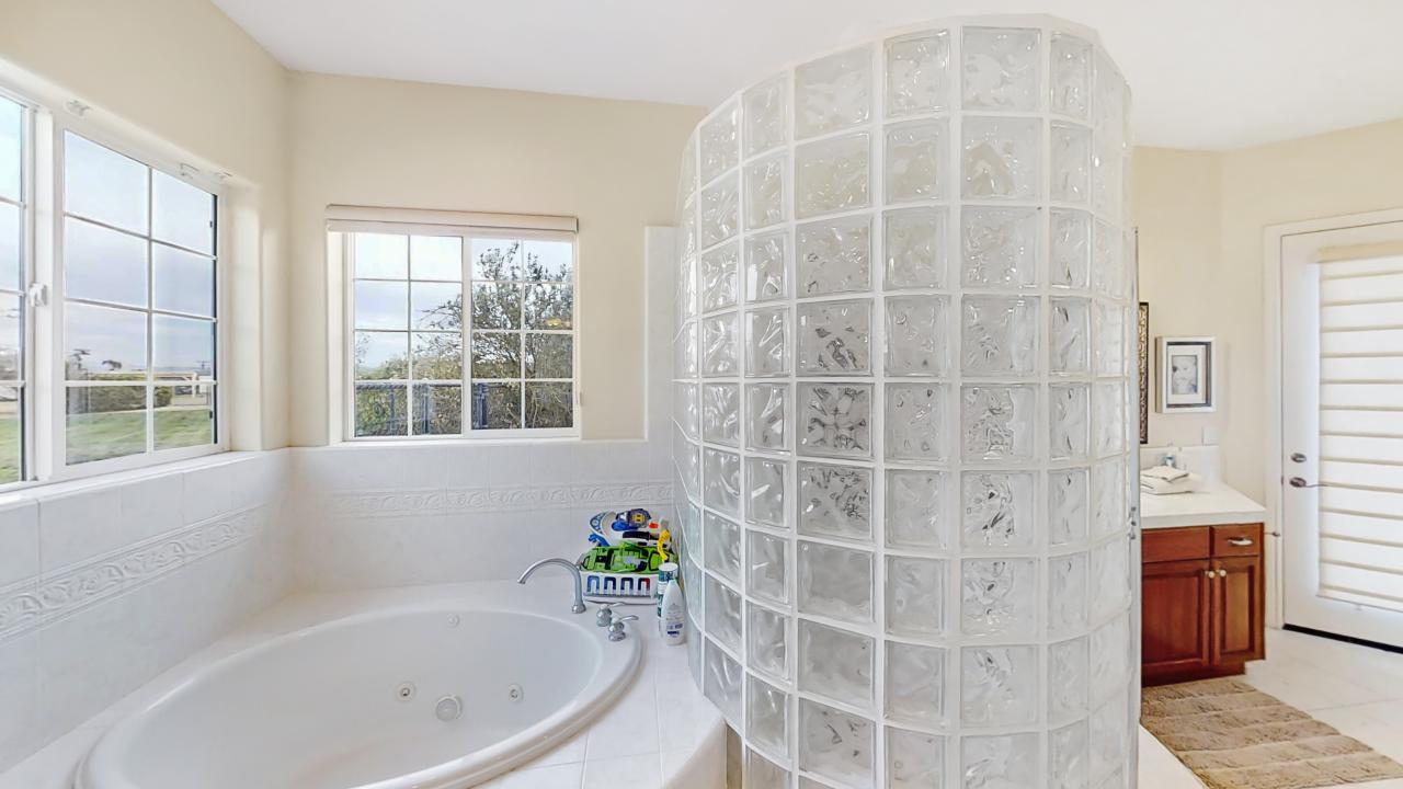 Master Bath Jetted Soaking Tub and Glass Block  Shower